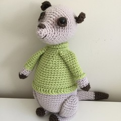 Mikey the Meerkat - crocheted, knitted, softies