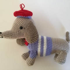 Pierre the Dachshund  - crocheted, knitted, softies
