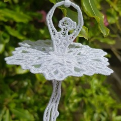 Free Standing Lace Ballet Dancer with Skirt.