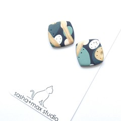 Soft Square Stud polymer clay earrings