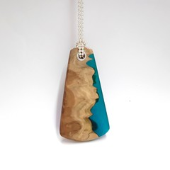 Aqua Resin and Wood Pendant