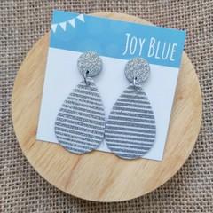 Silver glitter stripe earrings