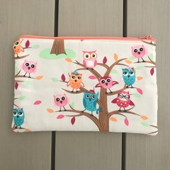Colourful owls pencil case
