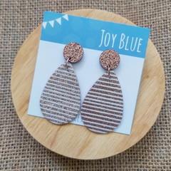 Rose gold glitter stripe earrings