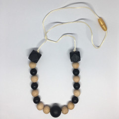 Wooden and Silicone Bead Necklace - Nursing Necklace - Teething Necklace - Baby