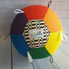 Balloon Ball: Rainbow Dots & Dash with Black/White Taggie