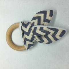Cute Grey Chevron Teether - Teething Ring - Bunny Ears Teether - Baby Shower Gif