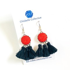 Small red and black tassel dangles