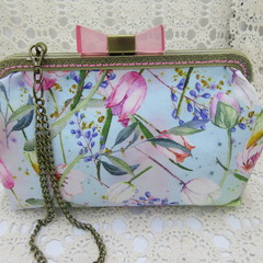 Ladies Clutch - Evening, Day, Wedding, Race Day, Garden Party - Soft Blue Floral