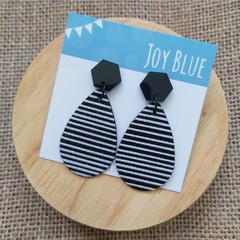 Black glitter stripe earrings