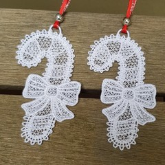 Free Standing Lace Candy Canes - set of 2