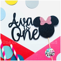 Custom name Minnie Mouse Cake topper