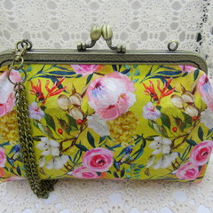 Ladies Clutch - Evening, Day, Wedding, Race Day, Garden Party - Mustard Floral