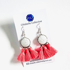 Small white and pink tassel dangles