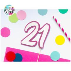 Cake topper glitter number 21 / 18 / 30 / 40 / 50