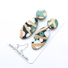 Soft Oval bold drop polymer clay earrings