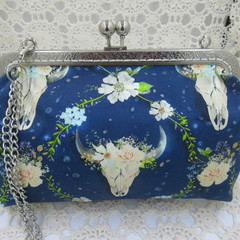Ladies Clutch - Evening, Day, Wedding, Race Day, Garden Party - Navy Boho Skull