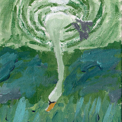 SWAN DIVE  An Original Acrylic Painting on Canvas Board