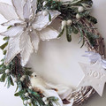 Silver White Christmas Wreath (32 cms)  - Mistletoe on Twisted Vine Wreath