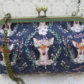 Ladies Clutch - Evening, Day, Wedding, Race Day, Garden Party - Navy Boho Deer
