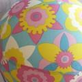 Balloon Ball: Flowers in Blue, Yellow, Pink White. Retro