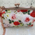 Ladies Clutch - Evening, Day, Wedding, Race Day, Garden Party - Blush Red Rose