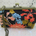 Ladies Clutch - Evening, Day, Wedding, Race Day, Garden Party - Black Floral