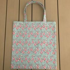 Blue and pink flamingos shopping bag