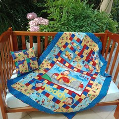 NO. 2 - LARGE NODDY PANEL QUILT/PLAY MAT AND CUSHION 132CMS X 114CMS