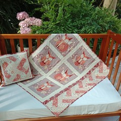 No 77 - Fox and owl quilt/play mat AND CUSHION 100CMS X 87CMS