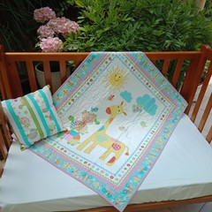 NO. 8 - PINK TURTLE QUILT/PLAY MAT  PLUS CUSHION  102cms x 88cms