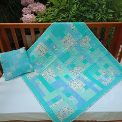 No 71 - Animal alphabet blue/turquoise quilt/play mat  95CMS X 92CMS