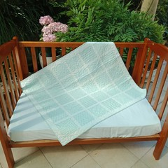 No 83 - Aqua and white squared quilt/play mat  110CMS X 94CMS