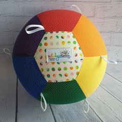 Balloon Ball: Taggie: Rainbow Micro dot with Rainbow spot centre. White tags