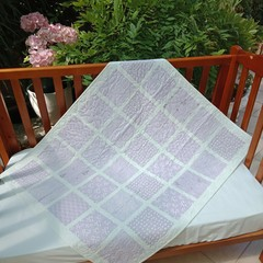 No 87 - Lilac and white squared quilt/play mat 107CMS X 90CMS