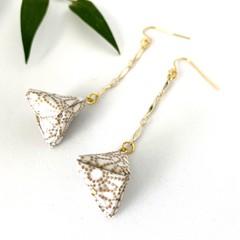 Origami Pyramid (Sankaku sui)  Drop Earrings - White