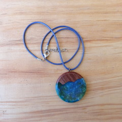 Red Gum wood with Blue Mix resin Pendant