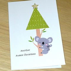 Merry Christmas card - Koala Christmas tree