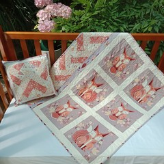 No 78 - Fox and owl quilt/play mat  AND CUSHION  100CMS X 87CMS