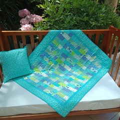 NO. 53 - TEAL AND LIME PATCH QUILT/PLAY MAT  WITH CUSHION  105CMS X 92CMS