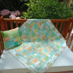 No 67 - Animal quilt/play mat Turquoise/grey AND  CUSHION  105CMS X 110CMS