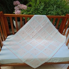 No 89 - Peach and white squared quilt/play mat 91CMS  X  110CMS