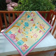 NO. 23 - QUILT/PLAY MAT YELLOW AND PINK OWL QUILT 105CMS X 84CMS