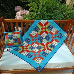 NO. 30 - 6 BLOCK TRACTOR QUILT/PLAY MAT AND MATCHING CUSHION 110cms x 79cms