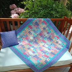 NO. 48 - QUILT/ PLAY MAT PINK/BLUE/LILAC PATCH  PLUS CUSHION 107cms x 105cms