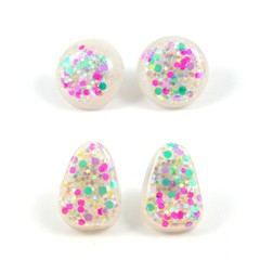 Pearl, green, pink & purple studs