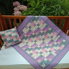 NO. 57 - QUILT/PLAY MAT PURPLE BUNNIES AND FLOWERS AND CUSHION 106CMS X 94CMS
