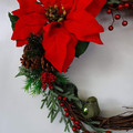 Traditional Christmas Wreath (32cms) - Artificial Red Poinsettia & Berry Wreath