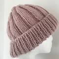 Pink merino ladies or mens knitted beanie wool blend pompom