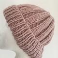 Pink merino ladies or mens knitted beanie wool blend pompom